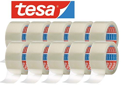 tesa 64014 Klebeband / Paketband 66 m x 50mm (10 Rollen, farblos)