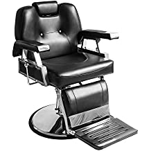 Anaelle Panana Fauteuil de Coiffeur Classic Hydraulique Inclinable Barber Reclinable 360°en PU Cuir avec Chrome Repos Pied pour Salon Professionnel et Maison, Taille: 110*70*100cm, Poids: 45kg, Noir