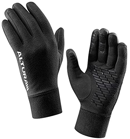 Altura Micro Fleece Thermal Cycling Gloves - Black, XL / Bicycle Cycle Biking Bike Riding Ride Mountain Road MTB Clothing Clothes Apparel Attire Gear Wear Kit Long Finger Glove Mitten Mitt Hand Pair Trail Winter Chill Adult Insulated Warm Dry