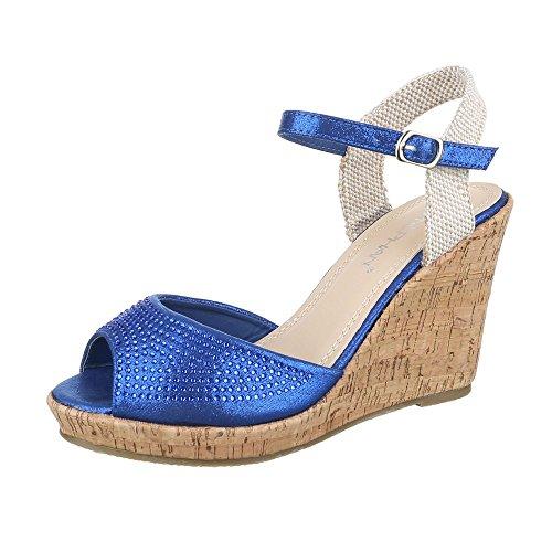 Fehlerhaftes Kostüm - Ital-Design Keilsandaletten Damen Schuhe Plateau Keilabsatz/Wedge Keilabsatz Schnalle Sandalen/Sandaletten Blau, Gr 41, Wl-96-