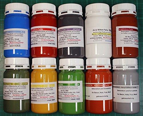 farbe fuer pflastersteine Acrylsilikon Farben 10 x 100 ml.für innen und außen (EUR 2,99/100 ml)