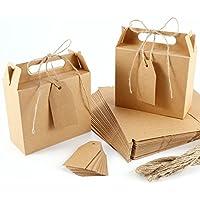 Caja Bolsa de Papel Kraft con Etiqueta Cinta para Dulces Regalos Recuerdo Detalle para Boda (marrón)