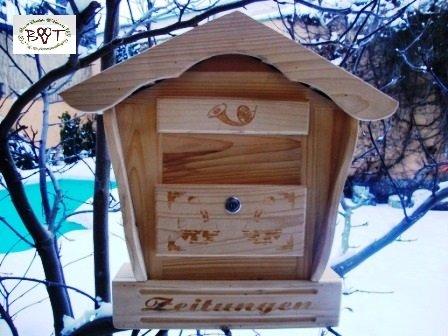 Holz-Briefkasten, Briefkasten HBK-SD-NATUR aus Holz NEU Vollholz Massivholz hell naturfarben ohne Lasur Naturhaus Holzhaus Briefkästen Postkasten Spitzdach