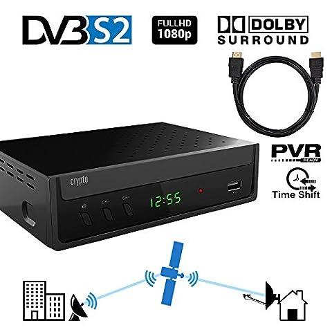 Crypto ReDi S100PH DVBS2 Satelliten receiver für öffentliche Sender( PVR-Ready,DVBS2, Full HD, HDMI, Dolby Digital, SCART, USB 2.0,LNB IN/OUT, Koaxial, Mediaplayer, Fernbedienung) mit HDMI Kabel 1
