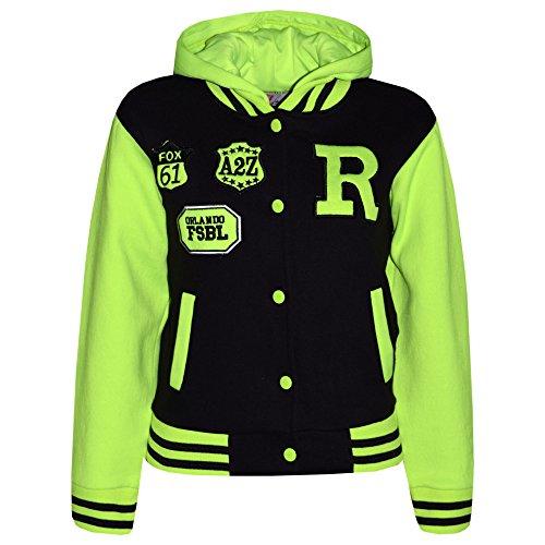 A2Z 4 Kids® Jungen Mädchen Mode FOX NYC Baseball Mit kapuze JACKE - B.B Black & Neon Green 13