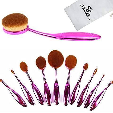 Tinabless 10pcs Toothbrush Oval Make UP Brushes Set Professional Makeup