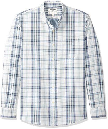 Goodthreads - Camisa reversible de manga larga y corte estándar para hombre, Azul claro a cuadros, US L (EU L)