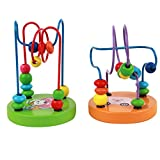 Fostly Wooden Mini Bead Maze Roller Coaster Around Bead Maze Learning Educational Play Game Toy For Baby And Toddler
