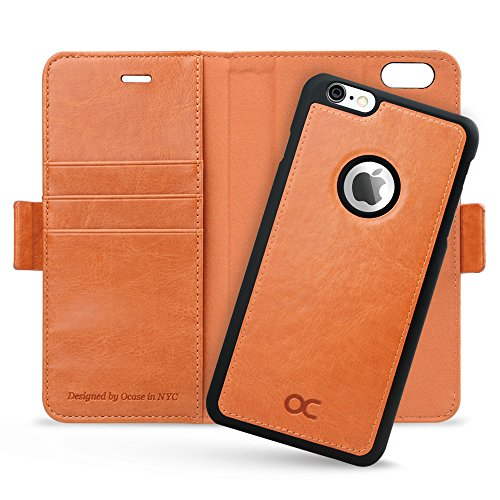 OCASE iPhone 6 Plus Hülle iPhone 6S Plus Hülle [ Abnehmbare magnetische Hülle ] [ 2 in 1 ] Schutzhülle Cover Leder Brieftasche Handyhülle für Apple iPhone 6 / 6S Plus Geräte (Hellbraun)