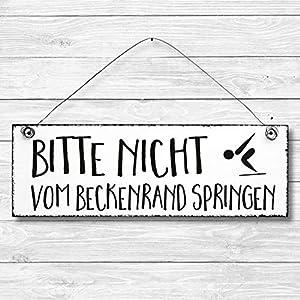 Bitte nicht vom Beckenrand springen - Bad Dekoschild Türschild Wandschild aus Holz 10x30cm - Holzdeko Holzbild Deko Schild