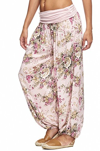 JillyMode Leichte Haremshose OneSize in viele Muster OneSize A1106 A1120-Blumen2-Rosa