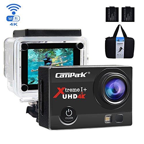 Galleria fotografica Action Cam, Campark 4K Action Camera 16MP Ultra HD WIFI Impermeabile Sport Camera 170° Grandangolare con due Batterie e Kit Accessori con Pacchetto Portatile