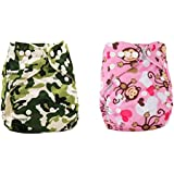 Babymoon (Set of 2) Cloth Diaper Designer Premium Reusable, Adjustable Size, Waterproof, Washable, Pocket Cloth Diaper Nappie (Without Inserts)