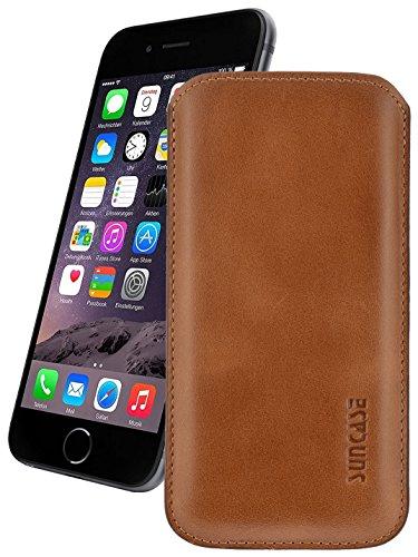 iPhone 7 / 6s / 6 (4.7 Zoll) Leder Etui *Ultra Slim* Tasche Handytasche Original Suncase Ledertasche Schutzhülle Case Hülle (mit Rückzuglasche) cognac