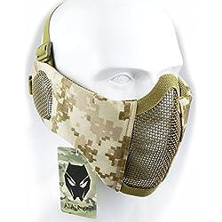 Demi-masque pour visage de WorldShopping4U - Protection inférieure avec filet en nylon - Protection des oreilles - Équipement Tactical Airsoft CS, AOR1
