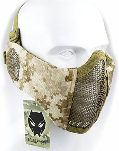 Mascarilla protectora de malla inferior de nailon con cubierta para la oreja de Worldshopping4U, Tactical Airsoft CS, AOR1