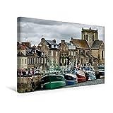Premium Textil-Leinwand 45 cm x 30 cm quer, Hafen in Barfleur | Wandbild, Bild auf Keilrahmen, Fertigbild auf echter Leinwand, Leinwanddruck (CALVENDO Orte)