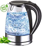 Glas Edelstahl Wasserkocher exclusive blaue LED Innenbeleuchtung 1