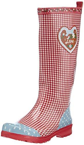 Playshoes Damen Gummistiefel, trendiger Regenstiefel aus Naturkautschuk, mit herausnehmbarer Innensohle, mit Landhaus-Motiv ,Rot (rot 8) ,41