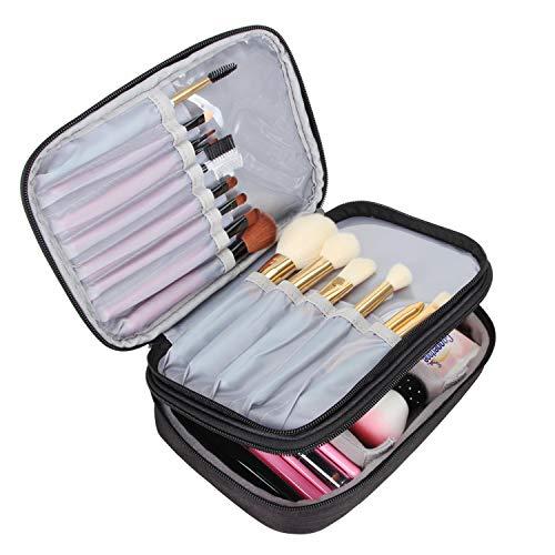 Teamoy Pinseltasche Kosmetik, Reise Kosmetiktasche für Kosmetik Pinsel, Make up Zubehör(nicht mehr als 8.8 Zoll/ 23cm) (Kein Zubehör im Lieferumfang enthalten), Schwarz