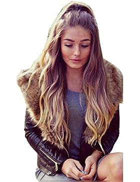 Internet Abrigo de cuello de piel sintética de invierno cálido para mujer Abrigo de chaqueta de cuero Parka