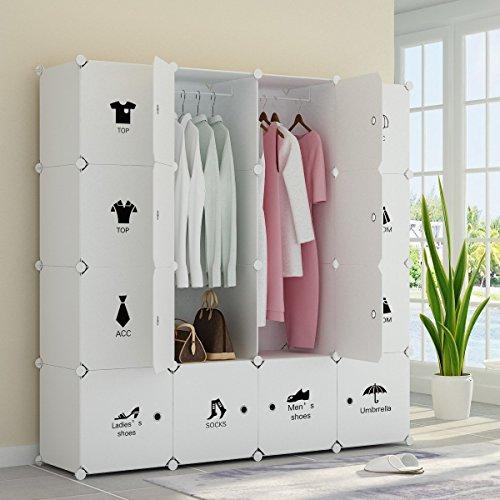 Koossy erweiterbares Regalsystem stabiles Steckregal Kleiderschrank mit Kategorie Aufkleber für Kinderzimmer Wohnzimmer und Schlafzimmer, 880L,147 x 147 x 47 cm, Weiß