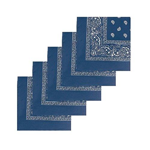KARL LOVEN Lote de 20 bandanas 100% Algodon Paisley Panuelo Cabeza Cuello Bufanda (Juego de 20, Azul jeans)