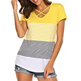 Luckycat Best Prime Day Deals 2018 Frauen Damen Streifen Splice T-Shirt Kurzarm Casual Tops Bluse Sommer Trikot