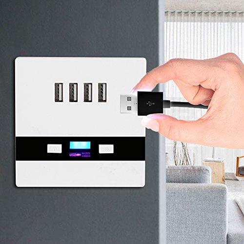 Shoot® 4x USB Ladestation mit Schalter und LED Beleuchtung.5V 3A 3000mA Weiß, Laden aller mobilen Geräte Ipod Iphone Ipad Smartphone MP3 - 5