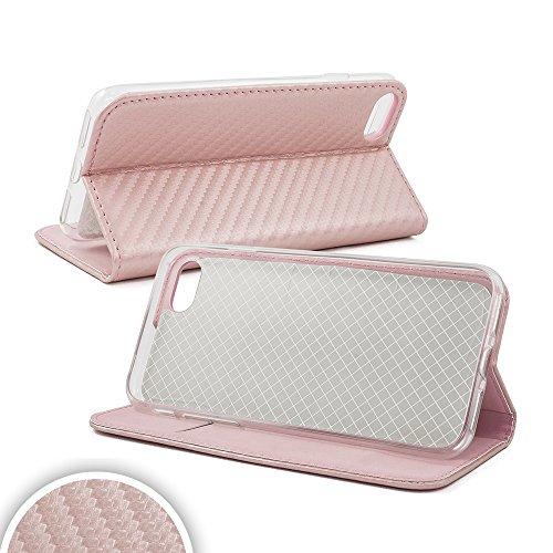 Bralexx Smart Bookstyle Tasche mit Standfunktion und Kartenfach in Carbon-Design (Samsung Galaxy S8 Plus, Rosa)