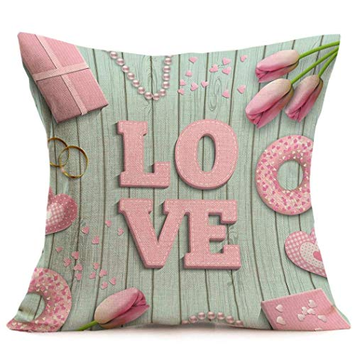 Hectwya Throw Pillow Cases Cafe Sofa Cushion Cover Valentine's Day Pillow Cover Home Decor,18x18 inch (A)