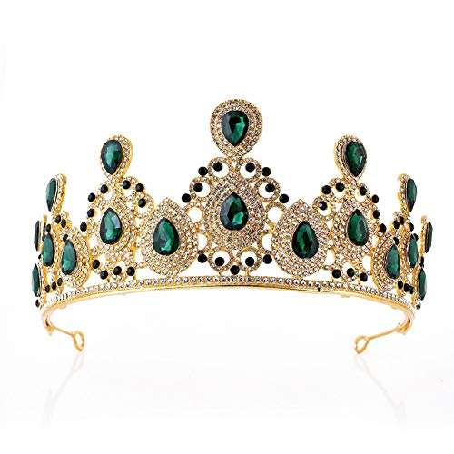 Kostüm Ballsaal Schmuck - Y.L Master Vintage Braut Crown Frauen Kopfschmuck Prom Hochzeit Krone Strass Dekor Tiara Legierung,Green
