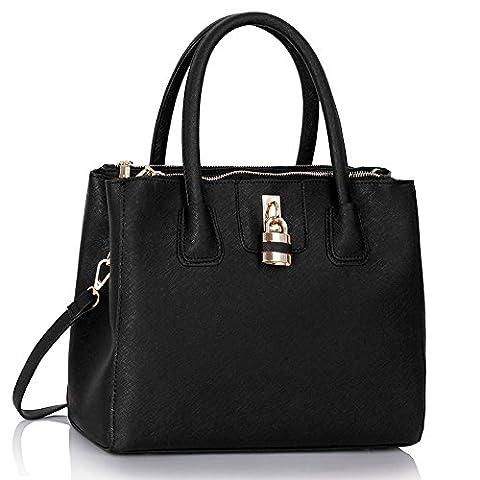 Ladies Fashion Desinger Quality Tote Bags Women's Trendy Hotselling Handbags Large Size Shopper Bag CWS00195A (Black)