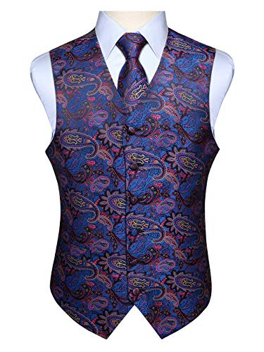 Hisdern Manner Paisley Floral Jacquard Weste & Krawatte und Einstecktuch Weste Anzug Set, Blau Rosa, Gr.-L (Brust 46 Zoll) -