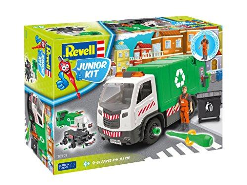 Revell Junior Kit 00808 - Müllwagen-Auto Modellbausatz für Kinder zum Schrauben mit Spielfigur, robust zum Basteln und Spielen, ab 4 Plus, kindgerecht, müheloses Verbinden weniger Teile mit Aufklebern