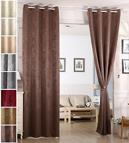 Woltu vh5884br-b tenda oscurante tende drappeggio occhielli metallo finestra soggiorno parete 100% poliestere tessuto stampato termica isolante pesante marrone 135x225 cm
