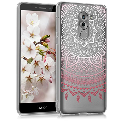 kwmobile Huawei Honor 6X / GR5 2017 / Mate 9 Lite Hülle - Handyhülle für Huawei Honor 6X / GR5 2017 / Mate 9 Lite - Handy Case in Rosa Weiß Transparent