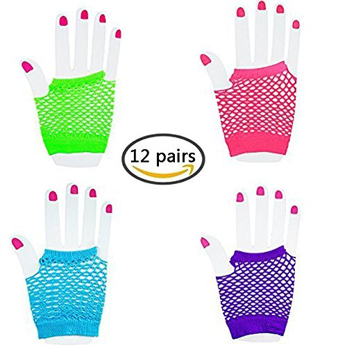 Sohapy 12 Pairs Fingerless Fishnet Neon Wrist Gloves For Parties and Costumes(4 colors)