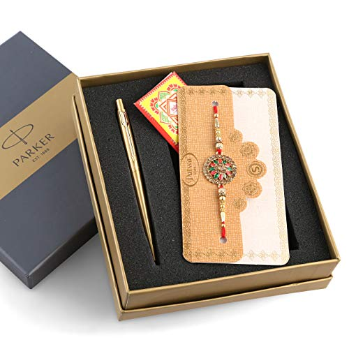 Raksha Bandhan Special Edition Parker Classic Gold Ball Pen with Gold Trim With Rakhi and Roli