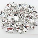 BrillaBenny Mix 50 Pietre CASTONI Strass da Cucire Vetro Glass CABOCHON Sew On Rhinestone Claw Sewing Clothes Shoes Decoration Stone DIY Accessories (Trasparente Crystal)