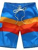 Hommes Ample Joggings Short Pantalon,Bohème Actif Décontracté / Quotidien Plage Sportif Rayé Blocs de Couleur Mosaïque Taille Normale , rainbow , 2xl