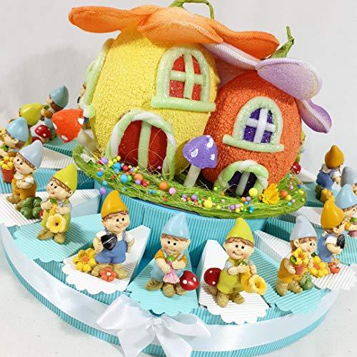 torta bomboniera battesimo gnomi folletti bimbo confetti inclusi (torta 20 fette 1 piano)