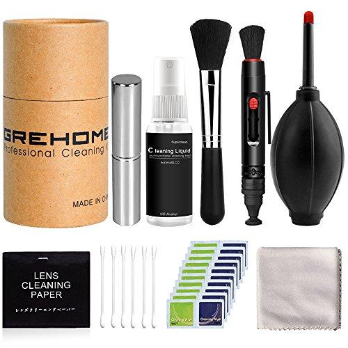 GREHOME Kamera Reinigungsset für DSLR, Objektive und Sensoren | DSLR Lens-Aid Geschenk Fotograf | Flüssig-Reiniger, Blasebalg, Pinsel, Lens-Pen, Mikrofasertuch UVM (Er Flüssigreiniger)