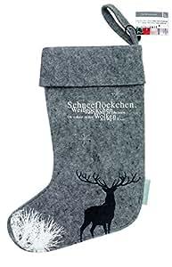 Räder Design - Chaussettes de Noël pour Cheminée - HIRSCH - 28,2 x 43 cm - Feutrine Imprimée - Gris Foncé