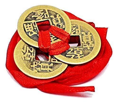 Eclectic Shop UK Feng-Shui Glück Chinesisch I-Ging Münzen 3er Set Zusammengebunden 23mm Rotem Band I Ching Glück