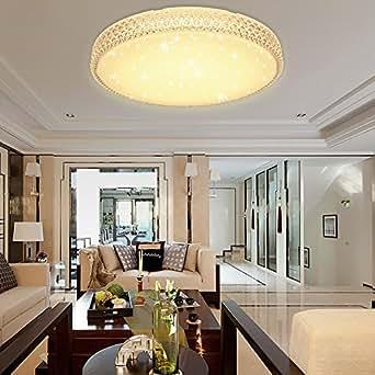 VINGO® LED 60W Rund Warmweiß Deckenlampe Deckenleuchte Schönes Wohnzimmer Mordern Schlafzimmer Starlight Effekt Lampe AC176V-242V Licht Sternenhimmel Kristall Wandlampe Badlampe