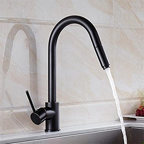NIHE Oil Rubbed Bronze Black Kitchen Faucet Swivel Spout Sink Tap Deck Mounted Pull Out Kitchen Tap,Solid Brass