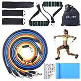 Bandas de Resistencia, Bandas Elásticas Fitness Professional Gym Tube Bandas de Goma para Ejercicios 5 Colores BC007 (Bandas de Resistencia)