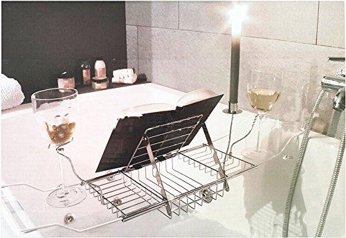 Vassoio Vasca Da Bagno : Basong vassoio per vasca da bagno con supporto di vetro di vino rack