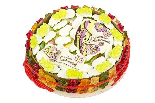 Geburtstags Torte, Fruchtgummi-Torte, Gummibären, Marschmallow, Fruchtgummi-Schnüre, 560g